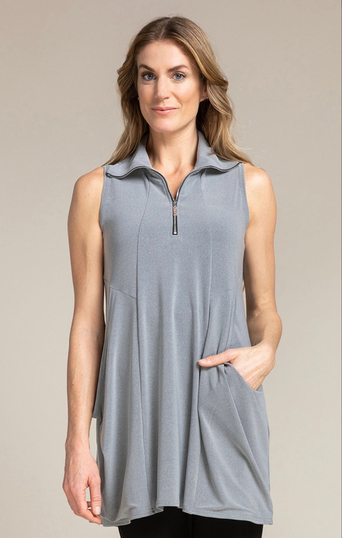 Sympli Sleeveless Double Take Tunic in Silver Melange