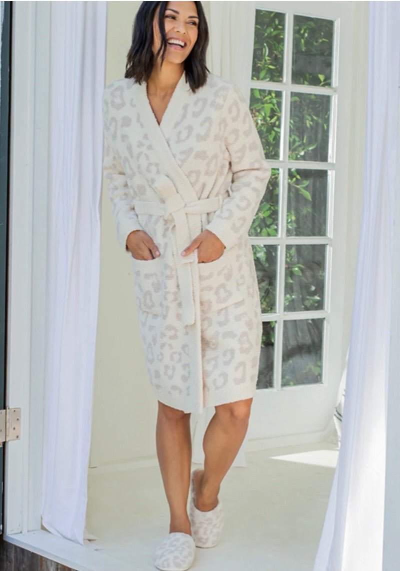 Barefoot Dreams Cozy Chic In the Wild Robe Cream/Stone