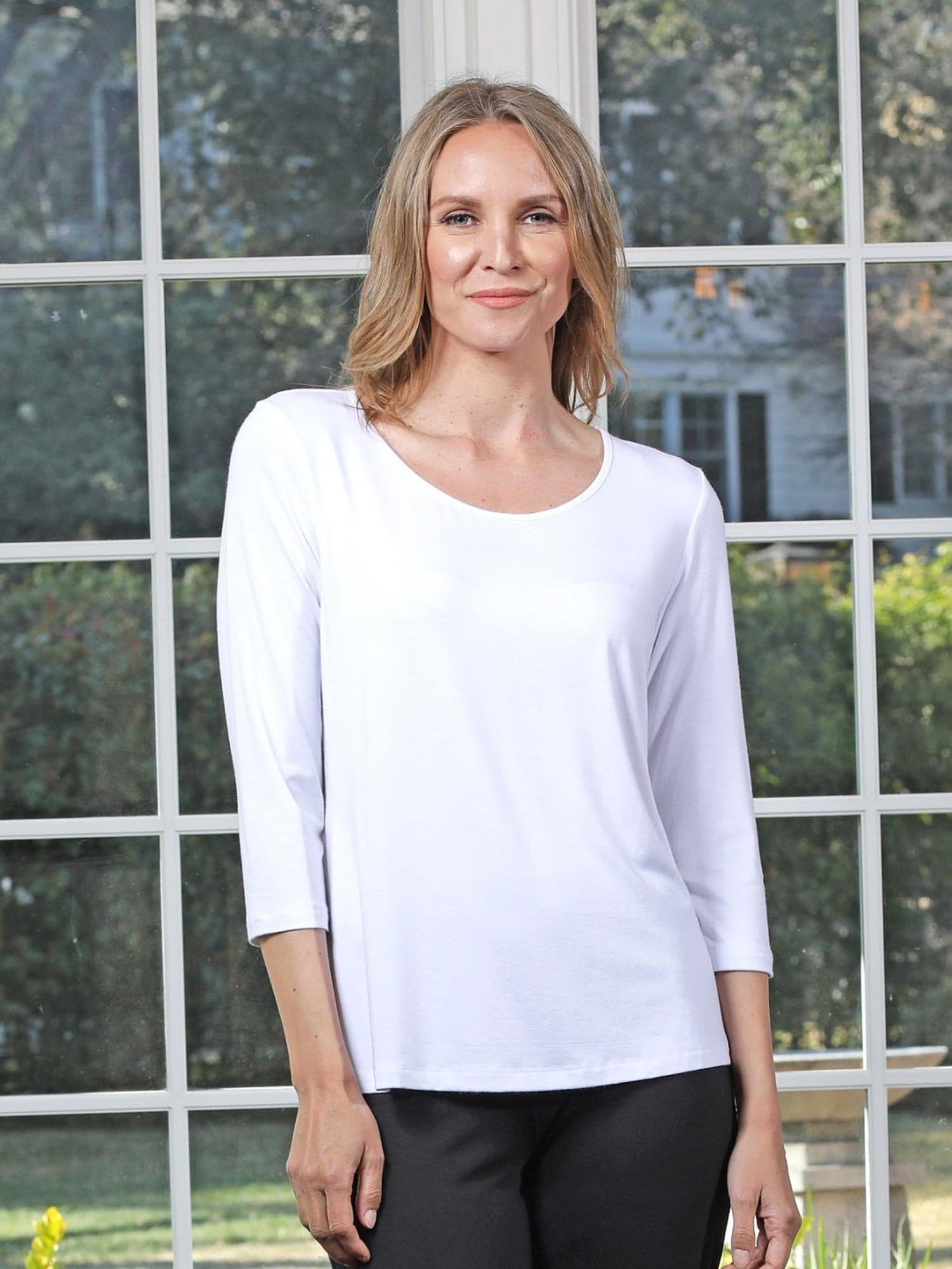 Chalet et Ceci 3/4 Sleeve Basic Top- White