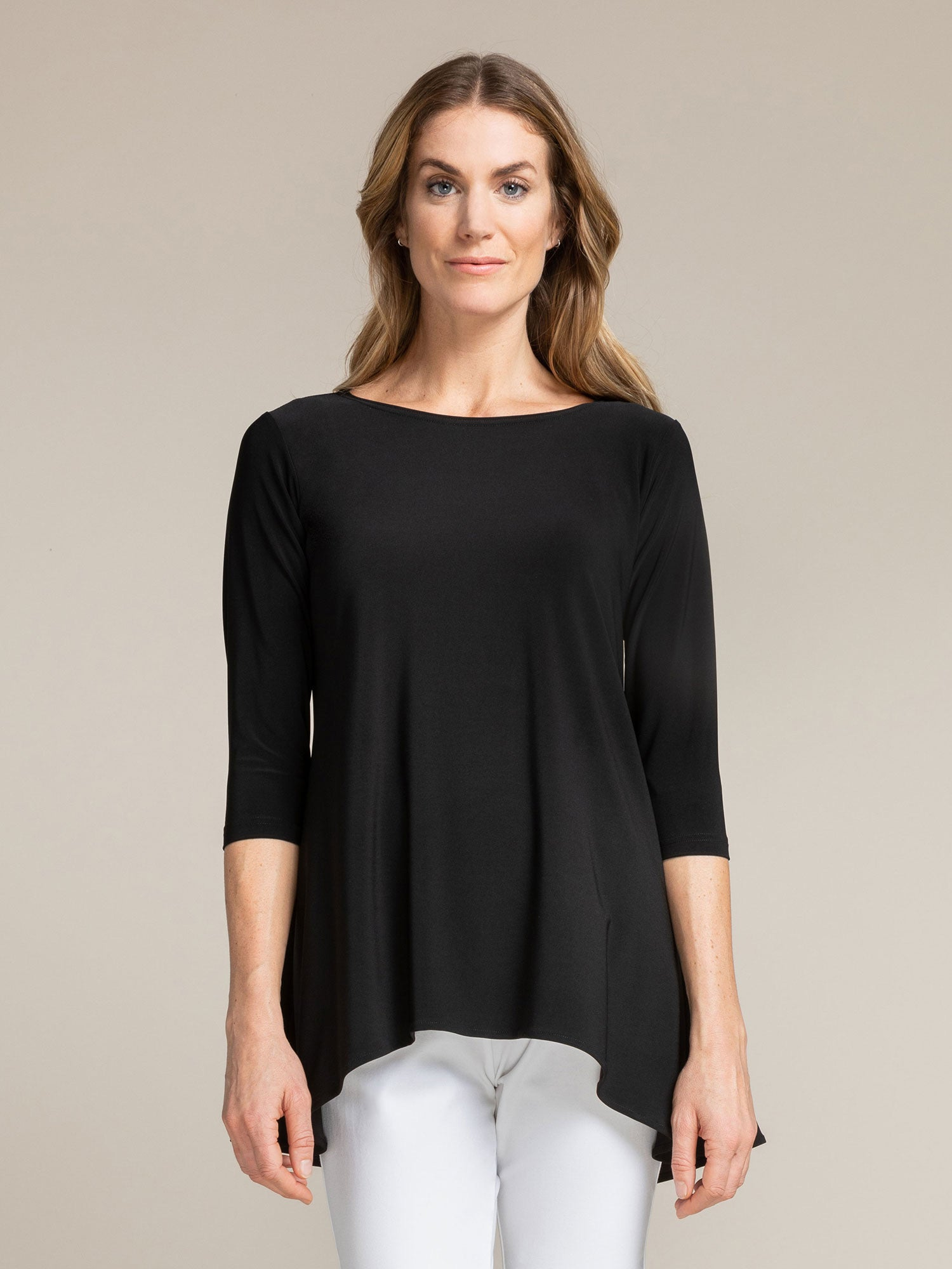 Sympli True T, 3/4 Length Sleeve- Black