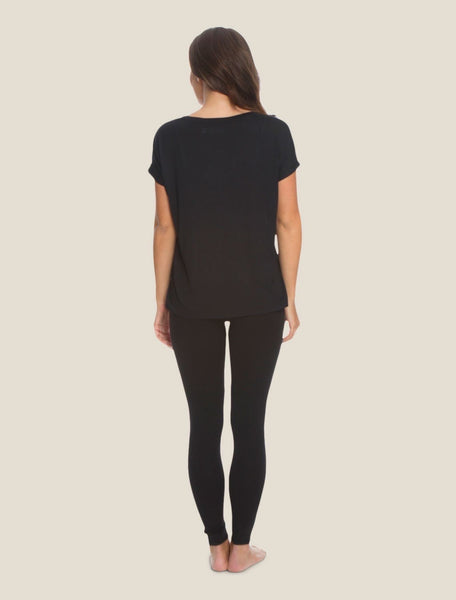 Barefoot Dreams Malibu Collection Modal Boxy V-Neck Tee- Black