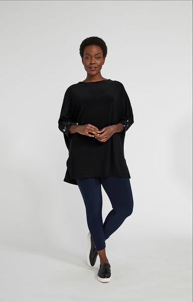 Sympli Halo Tie Cuff Tunic, 3/4 Sleeve, Black