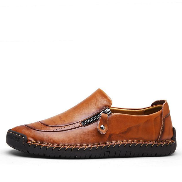 Pearlzone_Men Hand Stitching Zipper Slip-ons Leather Shoes