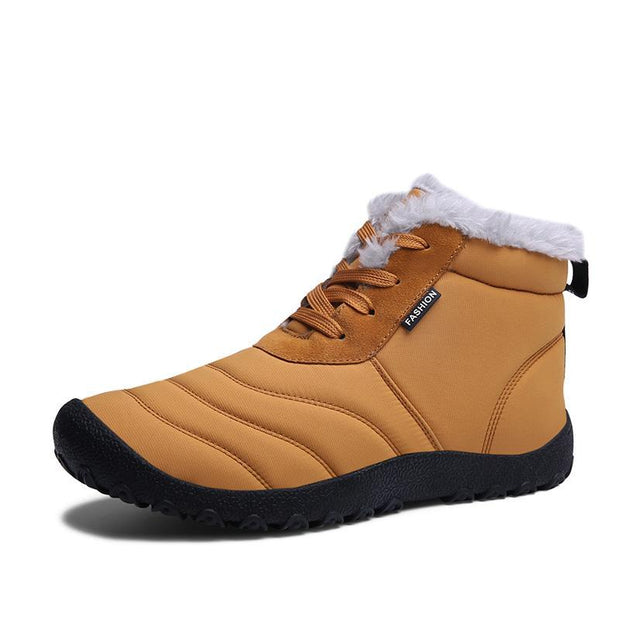 Large Size Men's Waterproof Cloth Letter High Top Lace Up Casual Boots - pearlzone