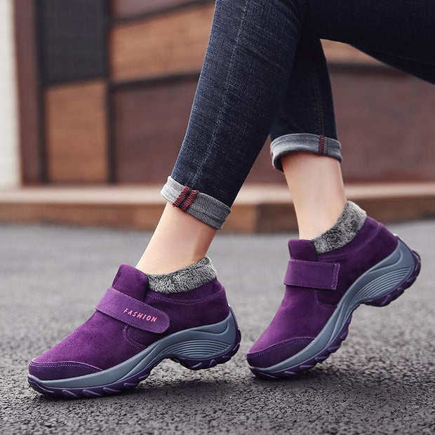 Pearlzone_Ladies Plus Velvet Warm Soft Bottom Walking Sneakers