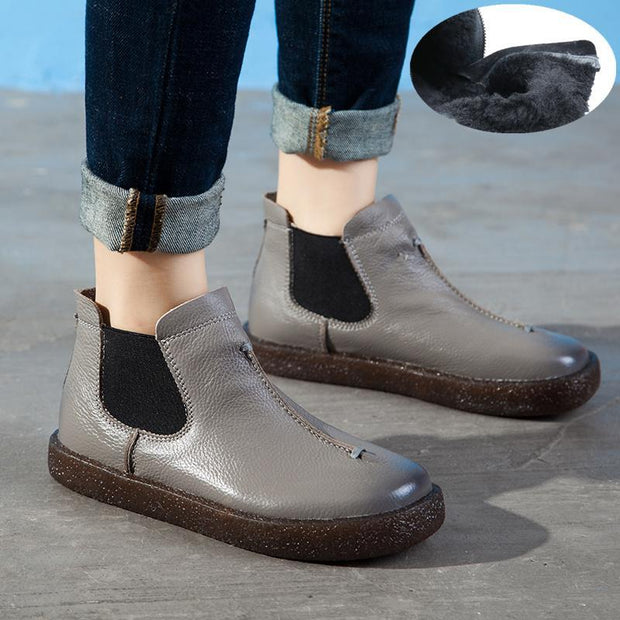 Women's Soft Leather Flat Comfy Ankle Boots
