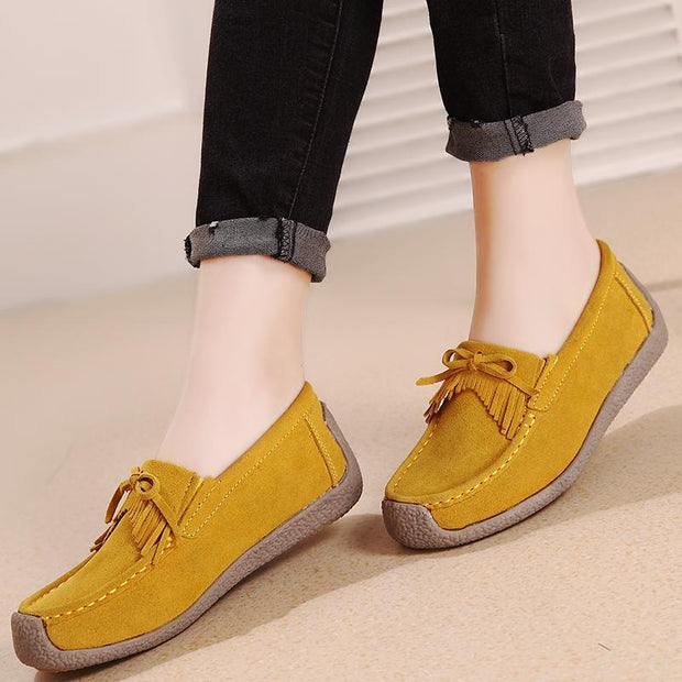 Women's Leather British Tassel Flat Casual Shoes