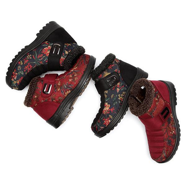 Pearlzone_Flower Hook Loop Metal Ankle Warm Retro Platform Boots