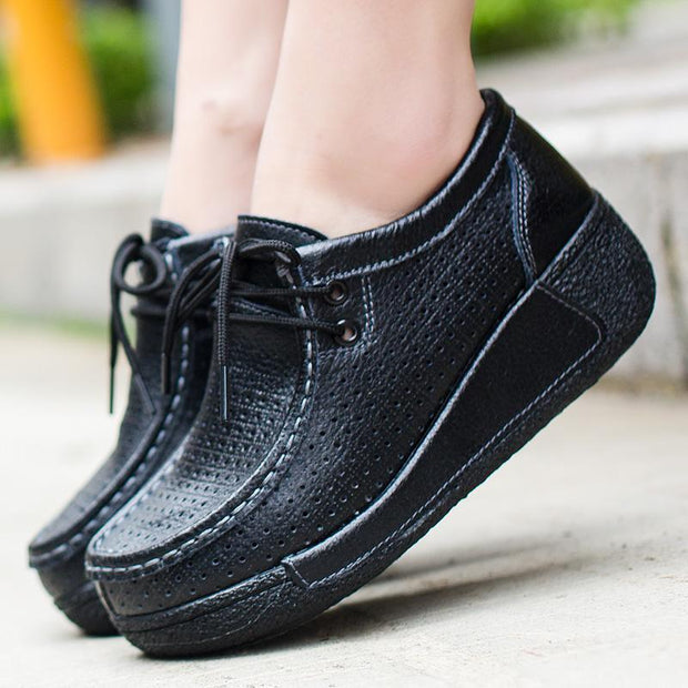 Women's Casual Leather Round Head Thick Bottom Loafers