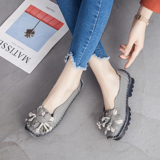Women Soft Bottom Flat  Comfortable Flowers Shoes