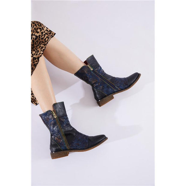 116699 LAURA VITA  Retro Pattern Lace Up Genuine Leather Splicing Comfortable Flat  Boots
