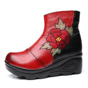 Women Vintage Embroidery Flowers Genuine Leather Plush Wedge Boots