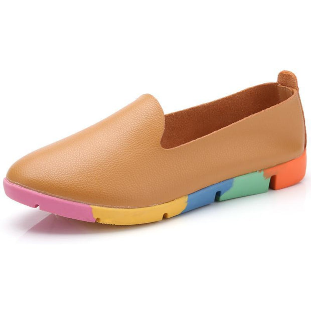 Women's leather casual peas shoes 116849