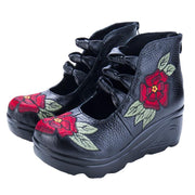 Women's Twinkie Thick Bottom Retro Embroidered Genuine Leather Comfy Shoes