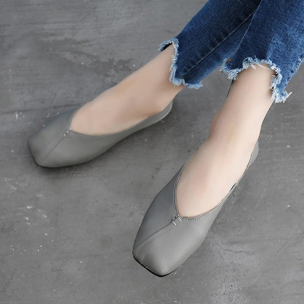 Women Flat Bottomed Square Head  Leather Shoes