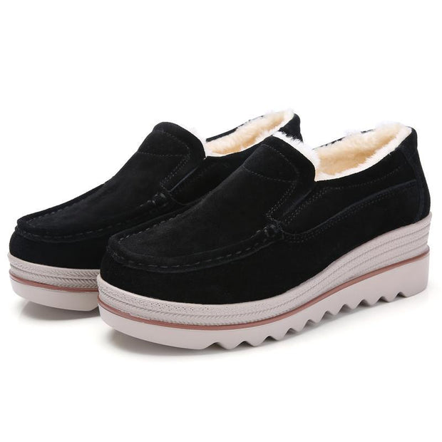 Women Leather Suede Plush Lining No-slip Platform Moccasins