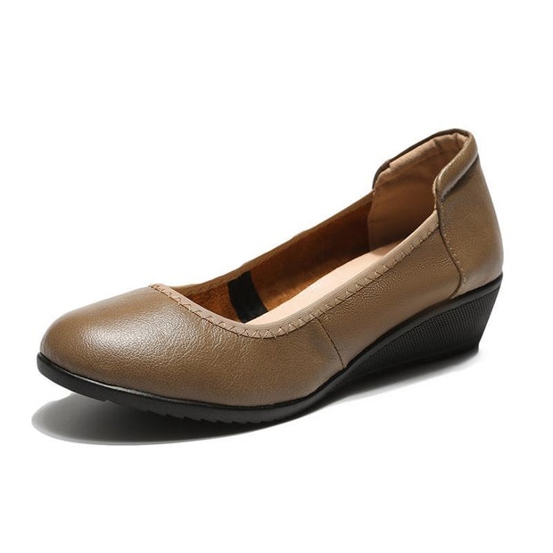 Women's Ballet Basic Comfort Leather Wedge Pump Shoes