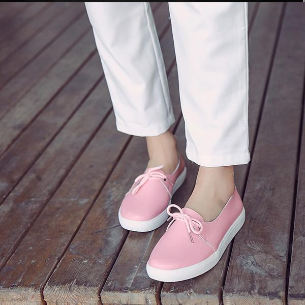 Pearlzone_Ladies Casual Genuine Leather Bow Flats