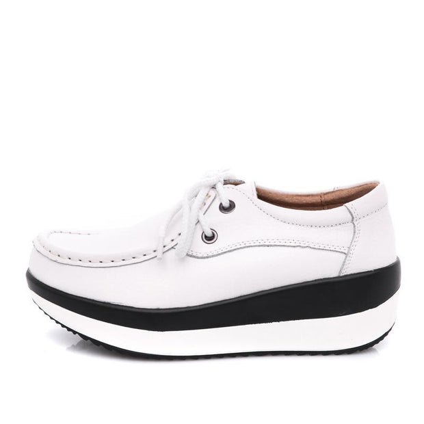 Women Increased Heel Plateform Casual Boat Shoes