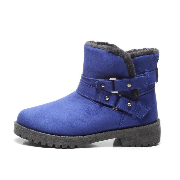 Women Fur Lined Warm Suede Casual Short Winter Snow Boots