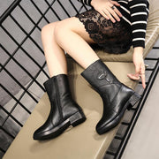 Women Warm Plush Genuine Leather Mid Calf Low Heel Boots