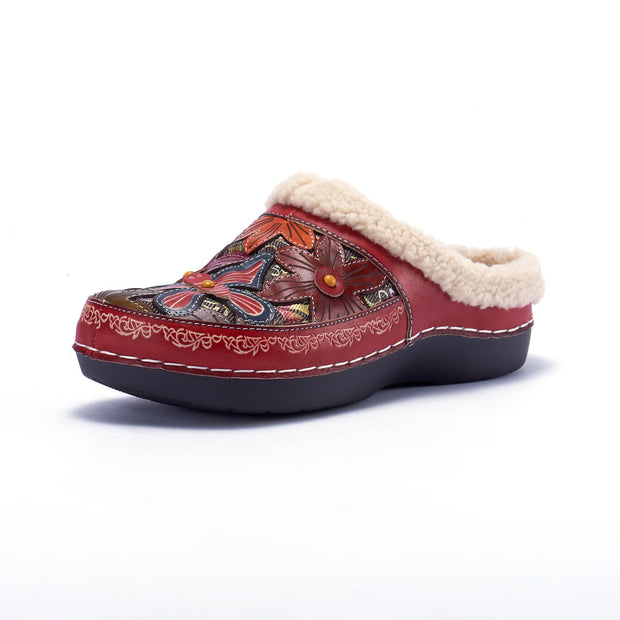 Pearlzone_LAURA VITA Women Casual Butterfly Pattern Hand-colored Genuine Leather Warm Flat Shoes