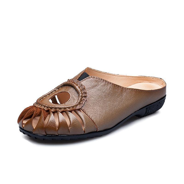 Pearlzone_Hand-hollowed women's sandals leather rubber soft sole wear-resistant large size slippers 117268