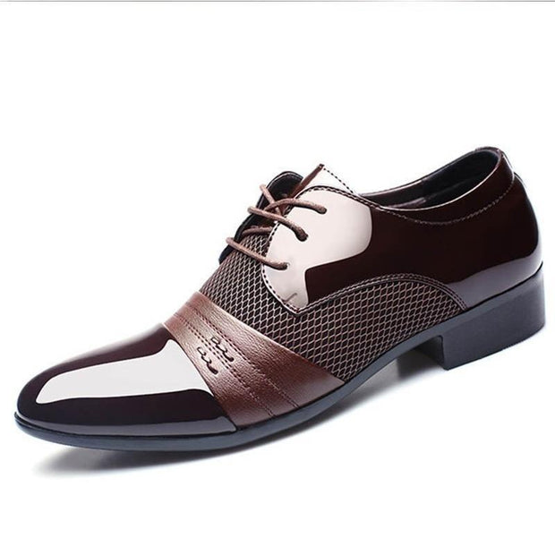 Pearlzone_Men Formal Pointed Toe Lace Up Business Blucher Shoes
