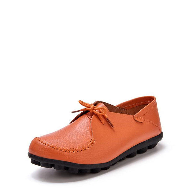 Pearlzone_Autumn and winter leather women's single shoes casual flat shoes 117352
