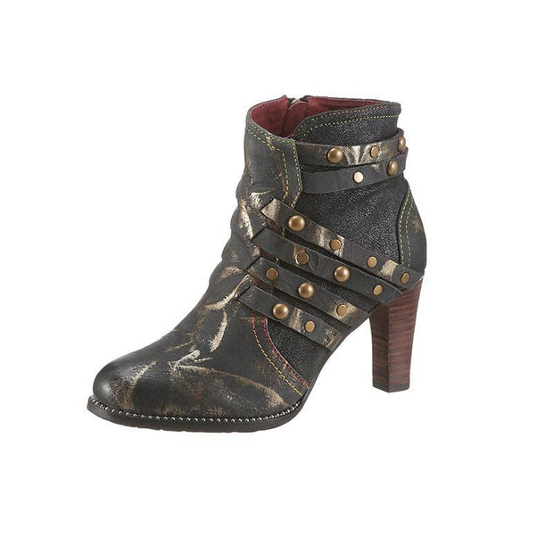 Pearlzone_LAURA VITA Women Retro Genuine Splicing Leather Pattern  Ankle  Boots