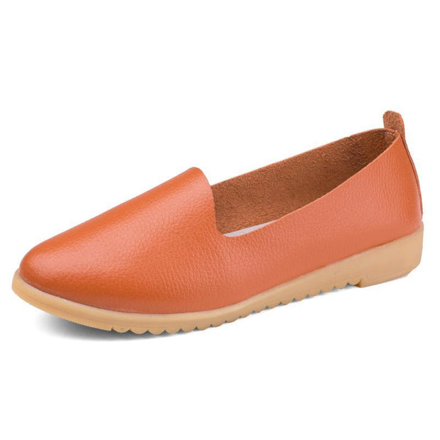 Women Soft Genuine Leather Slip On Driving Flats
