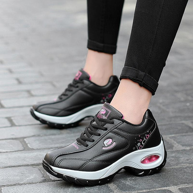 Women's Casual Leather Increased Air Cushion Sole Sneakers