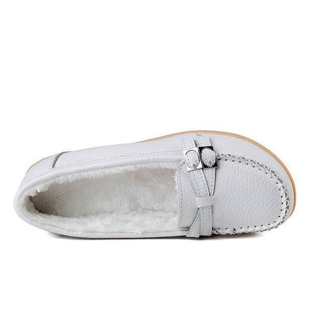 Pearlzone_Female Winter Fur Women Loafers Slip-on Leather Ladies Flats Warm Plush Driving Boat Shoes Moccasins 117275
