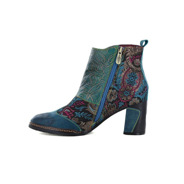 117677 LAURA VITA Vintage Flower Pattern Genuine Leather   Zipper Ankle  Boots
