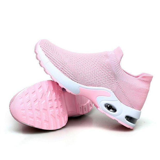Pearlzone_Female Breathable Lightweight Flying Woven Air Cusion Sneakers