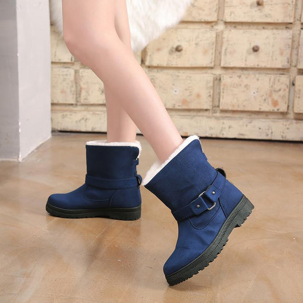 Pearlzone_2019 Winter Fashion Women Suede Martin Casual Flat Boots Winter Warm Belt Buckle Ankle Boot 117775