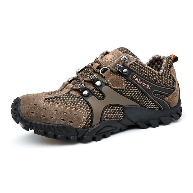 Pearlzone_Men Breathable Suede Non-slip Lace Up Outdoor Hiking Sneakers