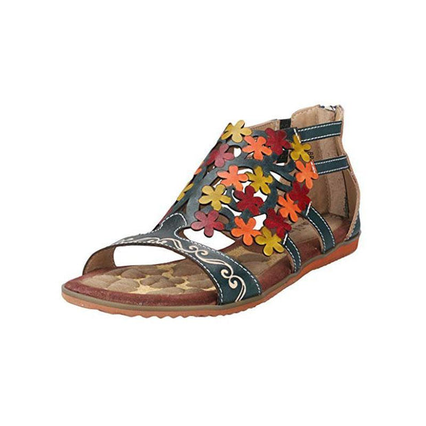 Pearlzone_LAURA VITA Retro Genuine Leather Handmade Painted Laser Zipper Sandals