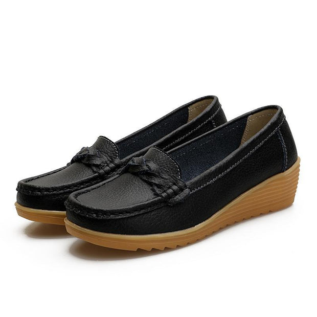 Women Cow Leather Hollow Non-slip Wedge Boat Shoes