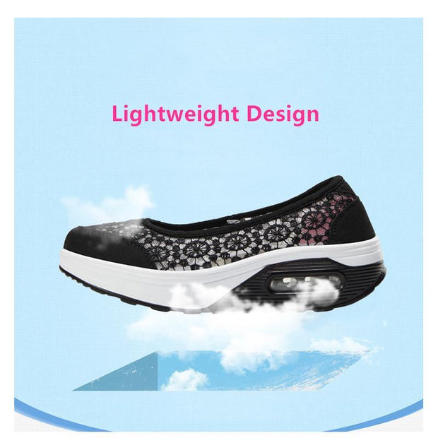Women's Air Cushion Lace Hollow-out Boat Shoes