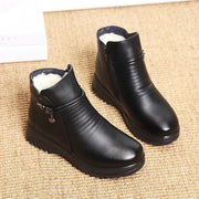 Women's Winter Fur Lined Short Leather Boots