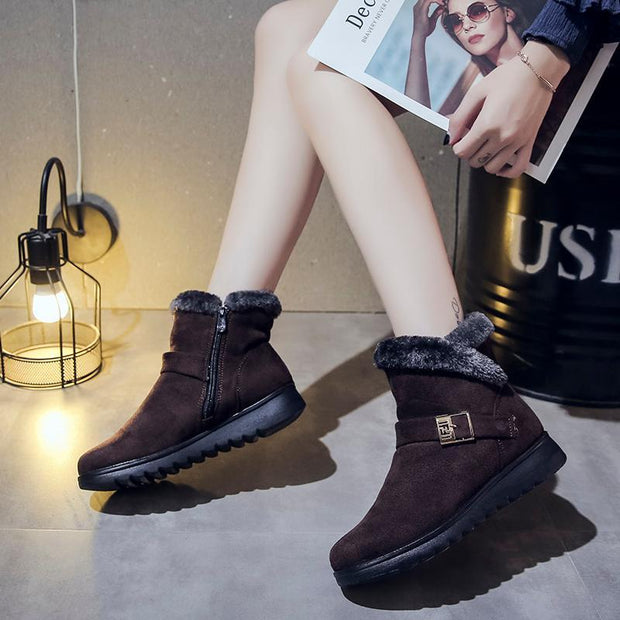 Women's Water-resistant Suede Warm Snow Boots