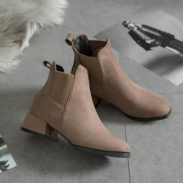 New women's winter jacket waterproof platform Chelsea boots PU rubber square heel shoes 117551