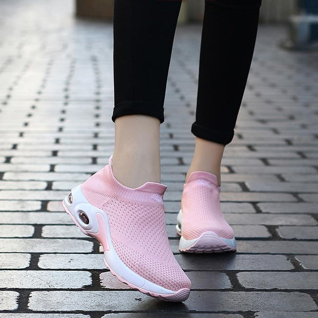 Women's Air Cushion Flying Woven Slip Sneakers