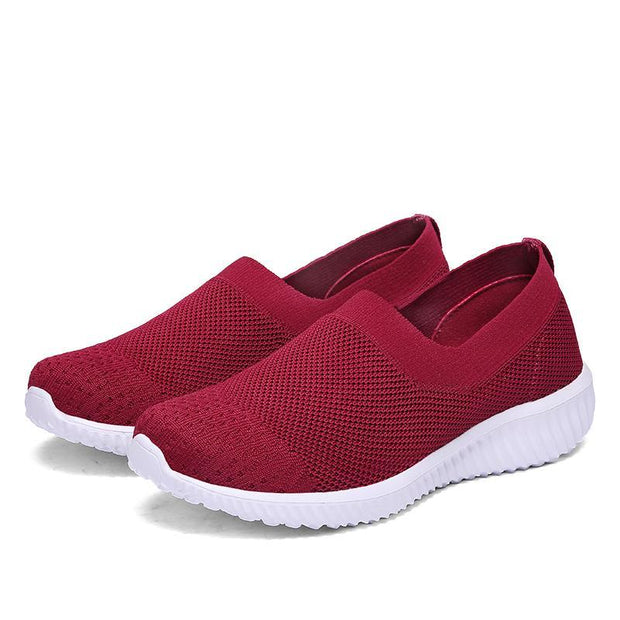 Womens Knit Breathable Slip-on Sneakers