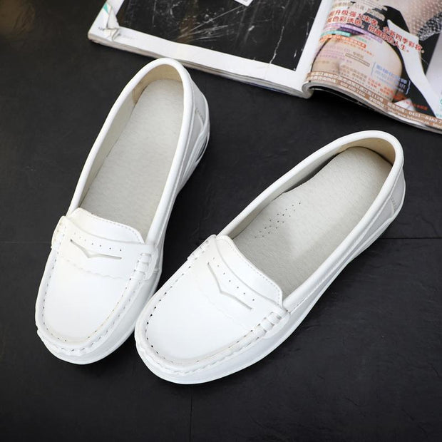 Women Casual Cusion Cow Leather Non-slip Loafers