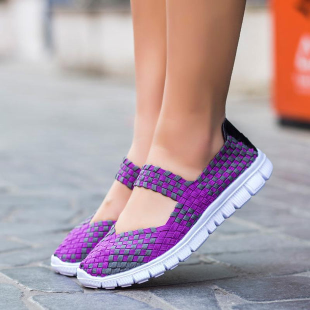 Pure manual weaving for women's shoes Big yards mother shoes Lightweight breathable