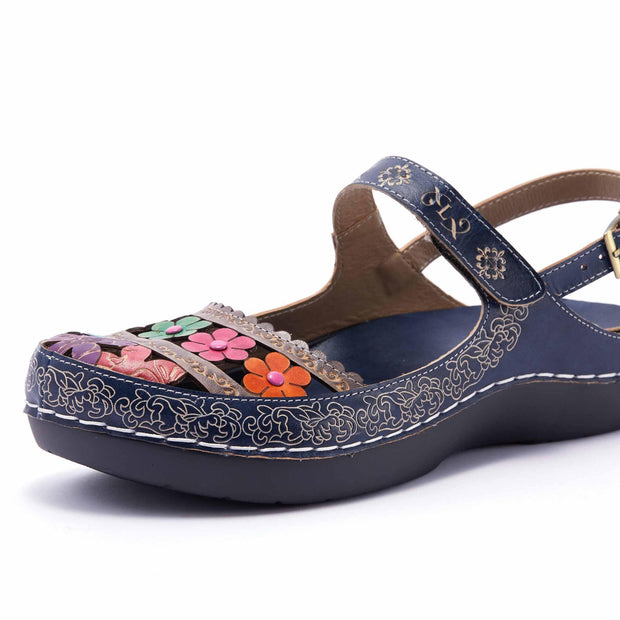 LAURA VITA BRCUELO 4319  Retro Genuine Leather Handmade PAINTED VELCRO Original Comfortable SANDAL 122190