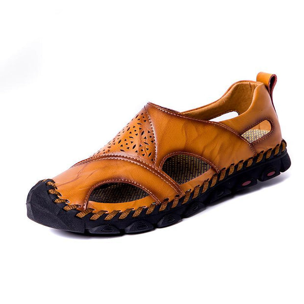 bfa0d9a7abcd4 Men Hand Stitching Hole Carved Soft Leather Sandals
