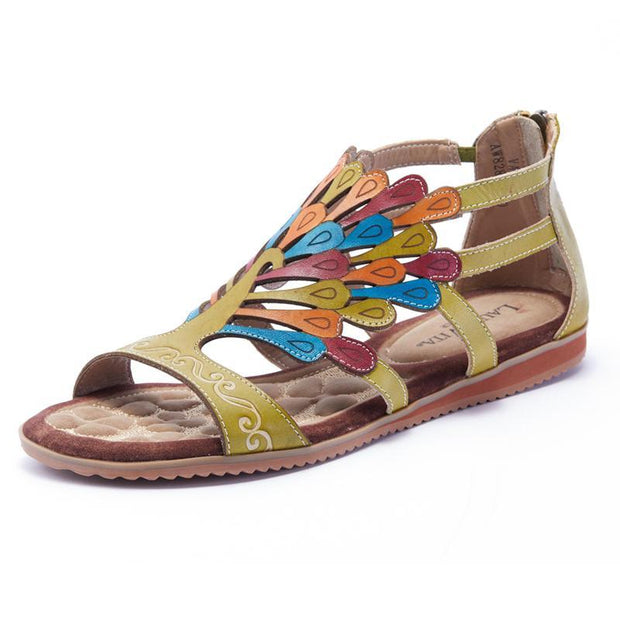 122281 LAURA VITA VACA Retro Genuine Leather Zipper Handmade PAINTED LASER Original Comfortable SANDAL